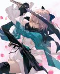 1girl bangs black_legwear blonde_hair bow breasts commentary_request fate/grand_order fate_(series) hair_between_eyes hair_bow haori highres holding holding_sword holding_weapon japanese_clothes katana kimono koha-ace obi okita_souji_(fate) open_mouth petals sash scarf short_hair short_kimono simple_background solo sword wanke weapon wide_sleeves yellow_eyes