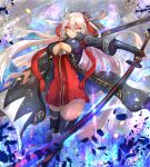 1girl abstract_background black_bow black_legwear bow breasts cropped_legs dress fate/grand_order fate_(series) hair_bow highres holding holding_sword holding_weapon large_breasts long_hair looking_at_viewer ohako_(ohako1818) okita_souji_(fate) okita_souji_alter_(fate) red_dress scabbard serious sheath solo sword thigh-highs under_boob weapon white_eyes white_hair zettai_ryouiki