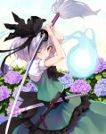 1girl arms_up ascot bangs black_bow black_hairband black_neckwear bow brown_eyes closed_mouth commentary_request eyebrows_visible_through_hair fingernails flower green_skirt green_vest hair_between_eyes hair_bow hairband highres holding holding_sword holding_weapon hydrangea katana konpaku_youmu konpaku_youmu_(ghost) looking_at_viewer nuqura one_eye_closed puffy_short_sleeves puffy_sleeves purple_flower sheath shirt short_hair short_sleeves silver_hair skirt sword touhou unsheathed vest weapon white_shirt
