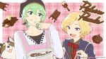 2boys :p apron blonde_hair chocolate copyright copyright_name dog green_eyes green_hair head_scarf male_focus multiple_boys official_art open_mouth palette_parade rubens_(palette_parade) smile tongue tongue_out vandyck_(palette_parade) violet_eyes