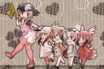 5girls apron bangs bird_tail bird_wings black_hair blonde_hair blue_hair bracelet brown_hair child coat commentary_request dress eurasian_eagle_owl_(kemono_friends) eyebrows_visible_through_hair flag frilled_dress frilled_sleeves frills fur_collar gradient_hair head_wings japanese_crested_ibis_(kemono_friends) jewelry kemono_friends kolshica long_sleeves multicolored_hair multiple_girls northern_white-faced_owl_(kemono_friends) pantyhose redhead scarf scarlet_ibis_(kemono_friends) short_sleeves sidelocks spot-billed_duck_(kemono_friends) white_hair wings