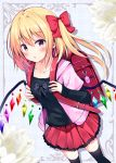 1girl :o alternate_costume backpack bag black_legwear black_shirt blonde_hair blue_background blue_bow blush bow casual collarbone commentary_request contemporary crime_prevention_buzzer crystal eyebrows_visible_through_hair feet_out_of_frame flandre_scarlet flower hair_between_eyes hair_bow highres hood hoodie hyurasan long_sleeves looking_at_viewer miniskirt parted_lips pink_hoodie pleated_skirt red_bow red_eyes red_skirt shirt short_hair short_sleeves side_ponytail silhouette skirt sleeves_past_wrists solo standing thigh-highs touhou white_flower wings zettai_ryouiki