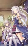 2girls anbe_yoshirou braid breasts character_request cleavage commentary_request crown_braid detached_sleeves dress elf emilia_(re:zero) flower french_braid frilled_dress frilled_sleeves frills gem hair_flower hair_ornament hair_ribbon highres indoors long_hair looking_at_viewer medium_breasts multiple_girls ordinal_strata pointy_ears puck_(re:zero) re:zero_kara_hajimeru_isekai_seikatsu red_eyes ribbon silver_hair violet_eyes white_flower white_legwear wide_sleeves x_hair_ornament