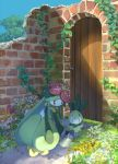 blue_sky brick_wall day flower garden gen_5_pokemon grass highres holding ivy lilligant no_humans outdoors petilil pippi_(pixiv_1922055) pokemon red_eyes ruins sky watering watering_can |_|