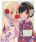 2girls :t alternate_hairstyle aoba_moka aqua_eyes aqua_rose bang_dream! bangs black_hair blue_background candy_apple eating floral_print flower food hair_bun hair_flower hair_ornament highres holding holding_food japanese_clothes kimono long_sleeves low_ponytail mitake_ran multicolored_hair multiple_girls obi open_mouth red_flower red_rose redhead rose sash short_hair short_ponytail streaked_hair upper_teeth violet_eyes wata_yuki wide_sleeves yukata