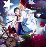 2girls artist_name bishoujo_senshi_sailor_moon black_hair blonde_hair blue_bow blue_eyes blue_sailor_collar blue_skirt blurry bow catelyne chains choker circlet clouds depth_of_field flower from_side full_moon hand_holding highres long_hair low_ponytail moon multiple_girls no_gloves petals pleated_skirt pocket_watch red_flower red_rose rose rose_petals sailor_collar sailor_star_fighter school_uniform seiya_kou serafuku signature skirt star tsukino_usagi twintails very_long_hair watch