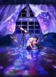 1girl black_legwear blue_skirt collared_shirt commentary_request curtains gemi highres kaleidoscope looking_at_viewer looking_to_the_side original pleated_skirt purple_hair shirt short_sleeves sitting skirt sky socks solo star_(sky) starry_sky telescope white_shirt window