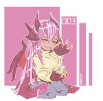 1girl :3 animal_ears artist_name blue_pants chibi claws commentary cup dragon_horns dragon_wings english_commentary extra_mouth half-closed_eyes hand_up head_fins heart highres holding horns jabberwock_(monster_girl_encyclopedia) long_hair looking_at_viewer monster_girl monster_girl_encyclopedia multicolored_hair pants parted_lips pink_background pink_hair purple_hair ramenwarwok red_eyes seiza sitting smile solo streaked_hair sweater tentacle tumblr_username wings yellow_sweater