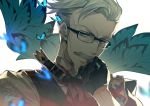 1boy blue_butterfly blue_eyes bug butterfly edoya_pochi facial_hair fate/grand_order fate_(series) glasses gloves grey_hair insect james_moriarty_(fate/grand_order) male_focus mustache portrait short_hair