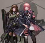 2girls aircraft ar-15 arm_guards armband armor assault_rifle bangs black_cloak black_eyes black_gloves black_hair blonde_hair braid breasts closed_mouth clothes_around_waist detached_sleeves digi-mind_update_(girls_frontline) dress dual_wielding expressionless eyebrows_visible_through_hair floating_hair gas_mask girls_frontline gloves gun hair_between_eyes hair_ornament headgear headphones helicopter highres holding holding_gun holding_strap holding_weapon holster jacket jacket_around_waist light_particles logo long_hair long_sleeves looking_at_viewer m4_carbine m4a1_(girls_frontline) magpul medium_breasts monaim multicolored_hair multiple_girls outdoors parted_lips pink_eyes pink_hair ponytail ribbed_legwear ribbed_sweater ribbon rifle scarf sidelocks single_thighhigh smile st_ar-15_(girls_frontline) standing streaked_hair sweater sweater_vest tactical_clothes thigh-highs thigh_holster thigh_strap thighs torn_clothes trigger_discipline very_long_hair weapon weapon_case white_hair