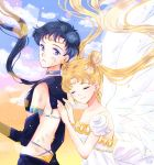 2girls bishoujo_senshi_sailor_moon black_hair blonde_hair closed_eyes closed_mouth highres hoshikuzu_(milkyway792) multiple_girls princess_serenity sailor_star_fighter seiya_kou tsukino_usagi white_wings wings