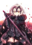 1girl ahoge black_armor black_cape black_gloves black_legwear blonde_hair cape chains fate/grand_order fate_(series) flower fur_trim gloves grin headpiece highres holding holding_sword holding_weapon jeanne_d'arc_(alter)_(fate) jeanne_d'arc_(fate)_(all) lokyin_house looking_at_viewer petals red_flower red_rose rose short_hair smile solo sword thigh-highs weapon white_background yellow_eyes