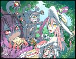 4girls absurdres ahoge animal_ears artist_name bare_shoulders black_border black_hair blue_sky border cherry_(snekfag) claws closed_eyes commentary commission crossover cyclops day dragon_girl dragon_horns dragon_wings dress eating elbow_gloves english_commentary extra_eyes extra_mouth food food_theft forest gazer_(monster_girl_encyclopedia) gloves hair_between_eyes hair_ornament hat head_fins heart highres holding holding_food horns jabberwock_(monster_girl_encyclopedia) lamia long_hair looking_at_another miia_(monster_musume) monster_girl monster_girl_encyclopedia monster_musume_no_iru_nichijou multiple_girls nature one-eyed open_mouth original outdoors picnic picnic_basket pointy_ears purple_hair ramenwarwok red_eyes redhead sandwich signature sky smile sun_hat sundress tears tentacle tree tumblr_username white_dress white_gloves wide-eyed wings yellow_eyes yellow_sclera