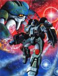 1boy 80s alien artist_request beam_rifle energy_gun gloves gurab helmet inbit kikou_souseiki_mospeada mecha milky_way missile_pod mospeada mospeada_(mecha) official_art oldschool power_armor promotional_art ride_armor scan science_fiction space star star_(sky) starry_background stick_bernard traditional_media weapon