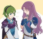 2girls armor blue_eyes blush fingerless_gloves fire_emblem fire_emblem:_rekka_no_ken fire_emblem_heroes florina gloves green_hair hair_ornament hairband jewelry kyufe long_hair multiple_girls nino_(fire_emblem) open_mouth pegasus_knight purple_hair purple_hairband short_hair skirt smile