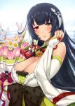 1girl bangs bare_shoulders black_hair blue_sky blush bouquet breasts bridal_gauntlets cleavage closed_mouth clouds commentary_request darkmaya day detached_sleeves dress eyebrows_visible_through_hair flower furisode green_dress green_eyes hair_between_eyes hair_ornament hair_ribbon hair_tubes hakama hand_up heterochromia holding holding_bouquet japanese_clothes jewelry kantai_collection kimono large_breasts long_hair long_sleeves looking_at_viewer low-tied_long_hair mizuho_(kantai_collection) obi ocean outdoors parted_lips red_eyes ribbon ring sash sidelocks sky sleeves_past_wrists smile solo very_long_hair wedding_ring