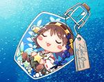 1girl blush_stickers bottle brown_hair chibi closed_eyes detached_sleeves flipped_hair green_skirt hairband headgear hiei_(kantai_collection) in_bottle in_container japanese_clothes kantai_collection nontraditional_miko ribbon-trimmed_sleeves ribbon_trim saki_(little_crown) short_hair skirt solo star underwater