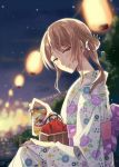 1girl bag bangs beer_can blurry blurry_background brown_eyes brown_hair can commentary_request floral_print half-closed_eyes hand_on_own_knee highres holding holding_can japanese_clothes kimono lantern long_hair long_sleeves looking_at_viewer nekozuki_yuki night night_sky obi original outdoors paper_lantern parted_lips sash side_bun signature sitting sky smile solo white_scrunchie yukata