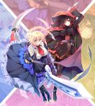 2girls ahoge black_dress black_hair black_legwear blazblue blazblue:_cross_tag_battle blonde_hair blue_dress blue_eyes blush boots braid breasts cape cloak closed_mouth commentary_request corset crescent_rose cross-laced_footwear dress es_(xblaze) frilled_dress frills gradient_hair grey_eyes highres holding holding_sword holding_weapon hood hooded_cloak huge_ahoge knee_boots lace-up_boots large_breasts long_hair long_sleeves looking_at_viewer multicolored_hair multiple_girls pantyhose red_cape redhead ruby_rose rwby scythe short_hair single_braid sword taut_clothes two-tone_hair underbust weapon xblaze yuuki_makoto_(radiant)