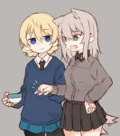 2girls afterimage animal_ears bangs black_legwear black_neckwear black_skirt blonde_hair blue_eyes blue_skirt blue_sweater braid closed_mouth cowboy_shot cup darjeeling dog_ears dog_tail dress_shirt eyebrows_visible_through_hair fist_bump fud girls_und_panzer grey_background grey_shirt hand_on_hip holding holding_cup itsumi_erika kemonomimi_mode kuromorimine_school_uniform long_hair long_sleeves looking_at_another miniskirt motion_blur multiple_girls necktie no_emblem notice_lines open_mouth pantyhose pleated_skirt school_uniform shirt short_hair silver_hair simple_background skirt smile st._gloriana's_school_uniform standing sweater tail tail_wagging teacup tied_hair twin_braids v-neck white_shirt yuri
