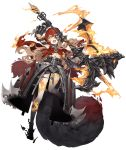 1girl armor armored_dress belt black_skin blonde_hair crazy_eyes dark_persona fire full_body gauntlets half-nightmare half_mask hood huge_weapon ji_no little_red_riding_hood_(sinoalice) long_hair looking_at_viewer mace mask missing_tooth multicolored multicolored_skin official_art pale_skin sinoalice solo tail tattoo torn_clothes transparent_background weapon wolf_tail yellow_eyes