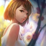1girl andychongarts bangs bare_shoulders breasts brown_hair closed_mouth flower from_side grey_eyes heart heart_necklace jewelry looking_at_viewer looking_to_the_side medium_breasts necklace original portrait short_hair sideboob sunflower swept_bangs tank_top white_tank_top