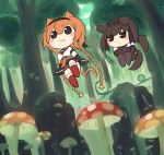 2girls :3 animal_ears black_bodysuit black_eyes black_sailor_collar black_skirt bodysuit braid brown_hair chibi dog_ears dog_tail hair_flaps hair_ornament hatsuzuki_(kantai_collection) headband highres jumping kantai_collection long_hair miniskirt multiple_girls mushroom neckerchief orange_hair propeller_hair_ornament red_legwear sailor_collar school_uniform serafuku short_hair simoyuki skirt tail teruzuki_(kantai_collection) thigh-highs twin_braids yellow_neckwear
