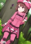 1girl animal_hat bangs brown_eyes brown_hair commentary eyebrows_visible_through_hair gloves hat highres llenn_(sao) long_sleeves looking_at_viewer pants patreon_logo pink_hat solo sword_art_online sword_art_online_alternative:_gun_gale_online tree uniform vahn_yourdoom