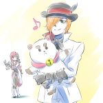 1boy 1girl bell bowler_hat cat_doll commentary_request hair_over_one_eye hat highres hug iesupa musical_note neo_(rwby) roman_torchwick rwby sad smile