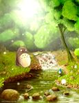 commentary day fishing fishing_rod flower forest grass highres nature no_humans outdoors river scenery syntetyc totoro tree