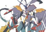 breasts cowboy_shot darling_in_the_franxx holding holding_spear holding_weapon horn humanoid_robot koyama_shigeto looking_at_viewer mecha medium_breasts no_humans open_mouth polearm red_eyes simple_background solo spear strelizia weapon white_background