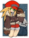 absurdres blonde_hair blush brown_coat brown_mittens cabbie_hat capcom coat cowboy_shot dakusuta frame fur_trim green_eyes hair_between_eyes hat head_tilt highres long_hair looking_at_viewer mittens open_mouth outside_border pocket red_hat red_shorts rockman rockman_dash roll_caskett short_shorts shorts sidelocks smile spiky_hair winter winter_clothes zipper_pull_tab