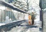 1boy 1girl :d blue_scarf brown_hair commentary_request floral_print gemi glasses haori holding holding_umbrella japanese_clothes kimono long_sleeves obi open_mouth original red_kimono sash scarf smile snow snowman standing tree umbrella white_umbrella
