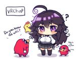 1girl ? absurdres ahoge black_legwear black_skirt blush breasts chibi highres knuckles_the_echidna large_breasts long_sleeves messy_hair monar nyarla_(osiimi) original osiimi panties pleated_skirt purple_hair shirt side-tie_panties simple_background skirt sonic_the_hedgehog standing thigh-highs ugandan_knuckles underwear violet_eyes white_background white_shirt