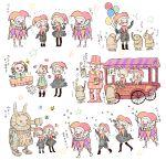 1boy 1girl balloon blush clown confetti food gochisousanma hat highres ice_cream instrument japanese machine_(nier) musical_note nier_(series) nier_automata popcorn translation_request trumpet yorha_no._2_type_b yorha_no._9_type_s