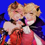 2girls :d animal_ears ascot bare_shoulders blonde_hair blue_background breasts cape character_request chino_machiko cleavage detached_sleeves fangs fingernails flower hair_flower hair_ornament hug long_sleeves looking_at_viewer medium_breasts multiple_girls nail_polish open_mouth orange_flower orange_nails orange_rose parted_lips red_nails red_vest rose sharp_fingernails short_hair show_by_rock!! simple_background smile vest waist_hug wings yellow_eyes