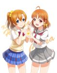 2girls :d ahoge bangs blue_eyes blue_skirt blunt_bangs bow bowtie braid brown_hair character_name cowboy_shot eyebrows_visible_through_hair grey_skirt hair_between_eyes hair_bow hand_holding heart highres interlocked_fingers kousaka_honoka long_hair love_live! love_live!_school_idol_project love_live!_sunshine!! miniskirt multiple_girls neckerchief open_mouth pleated_skirt red_bow red_eyes red_neckwear school_uniform serafuku shirt short_sleeves side_ponytail simple_background skirt smile standing striped striped_bow striped_neckwear takami_chika vest white_background white_shirt yellow_bow yellow_vest zi_long