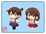 2girls :3 akagi_(kantai_collection) artist_logo black_legwear blue_background blue_skirt brown_eyes brown_hair hakama_skirt japanese_clothes kaga_(kantai_collection) kantai_collection long_hair multiple_girls pako_(pousse-cafe)_(style) parody pleated_skirt red_skirt short_hair side_ponytail simple_background skirt style_parody taisa_(kari) tasuki white_legwear younger