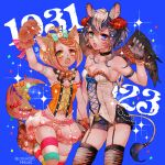 2girls animal_ears armpits bare_shoulders belt belt_collar black_shorts blue_background bow bowtie character_request chino_machiko claw_pose corset fangs garter_straps gloves green_eyes hand_up heterochromia legband looking_at_viewer multiple_girls navel open_mouth orange_eyes orange_hair paw_gloves paws purple_hair short_hair short_shorts shorts show_by_rock!! sparkle standing striped striped_legwear tail thigh-highs topknot twitter_username violet_eyes wings