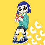 1girl bangs bike_shorts blue_hair commentary_request directional_arrow eating food hasha highres holding holding_food inkling jacket legs_together looking_to_the_side messy napkin shoes short_hair shrimp shrimp_tempura simple_background sitting skirt smile sneakers socks solo splatoon tempura tongue tongue_out yellow_eyes