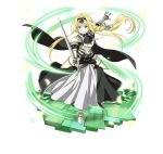 1girl alice_schuberg armor armored_boots armored_dress black_hairband blonde_hair blue_eyes boots braid dress faux_figurine floating_hair full_body gauntlets hair_between_eyes hair_ribbon hairband holding holding_sword holding_weapon long_dress long_hair official_art outstretched_arms ribbon simple_background solo spaulders standing sword sword_art_online sword_art_online:_code_register very_long_hair weapon white_background white_ribbon