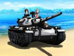3girls akiyama_yukari beach blonde_hair brown_hair clouds day emblem girls_und_panzer graphite_(medium) ground_vehicle gun machine_gun military military_vehicle motor_vehicle mountain multiple_girls nishizumi_miho ooarai_(emblem) ooarai_military_uniform ponytail sand sasaki_akebi short_hair sky tank traditional_media tree type_74 weapon yamucya01