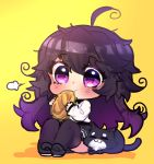 1girl absurdres ahoge black_cat black_footwear black_legwear blush bread cat chibi closed_eyes commentary eating english_commentary eyebrows_visible_through_hair food highres holding messy_hair nyarla_(osiimi) original osiimi purple_hair simple_background solo thigh-highs violet_eyes yellow_background