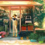 1girl blue_shirt brown_eyes brown_hair closed_mouth commentary_request flower gemi hat looking_at_viewer original overalls plant pot potted_plant sandals shirt short_hair short_sleeves smile solo standing yellow_hat