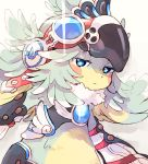 1girl bird claws crop_top feather_hair feathers flat_chest fur_collar gem goggles goggles_on_head hat ibuki_(xenoblade) long_hair looking_at_viewer monster_girl simple_background sisuko1016 smile solo talons xenoblade_(series) xenoblade_2