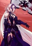 1girl absurdly_long_hair armor armored_boots armored_dress banner black_gloves blood blood_on_face bloody_clothes blue_dress boots dress fate/grand_order fate_(series) floating_hair gloves grin highres holding holding_weapon index_finger_raised jeanne_d'arc_(alter)_(fate) jeanne_d'arc_(fate)_(all) kikken long_hair no_panties outdoors silver_hair sleeveless sleeveless_dress smile solo standing thigh-highs thigh_boots very_long_hair weapon yellow_eyes