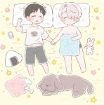 2boys black_hair bone cellphone closed_eyes dog drooling food hair_over_one_eye hand_holding katsuki_yuuri lying makkachin male_focus multiple_boys on_back onigiri pajamas phone pillow sakana_(gyogyo33) silver_hair sleeping smartphone smile star stuffed_animal stuffed_bunny stuffed_toy underwear viktor_nikiforov yaoi yuri!!!_on_ice