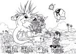 4boys :d arm_up attack baseball_cap blush_stickers boots cliff clouds copy_ability crossover dragon_ball dragonball_z electricity energy_ball frieza gameplay_mechanics greyscale hat highres holding holding_shield holding_sword holding_weapon ink_(medium) kirby kirby_(series) lake lee_(dragon_garou) link master_sword midair monochrome mother_(game) mother_2 multiple_boys namek ness open_mouth pants shield shirt shoes short_hair shorts sky slashing smile speed_lines striped striped_shirt super_smash_bros. sword tail the_legend_of_zelda the_legend_of_zelda:_twilight_princess traditional_media tree tunic user_interface weapon