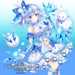 1girl bare_shoulders blue blue_background blue_bow blue_eyes blue_hair blush boots bow breasts bunny_hair_ornament cleavage cleavage_cutout elbow_gloves gloves hair_bow hair_ornament ice ice_shard looking_at_viewer medium_breasts medium_hair navel official_art sideboob skirt snow_bunny snowflakes snowman solo standing teltelhousi tenkuu_no_craft_fleet watermark white_gloves white_skirt