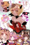 5girls :o animal_ears arm_belt bare_shoulders black_nails blonde_hair blush bow bowtie breasts brown_eyes character_request cheety_(show_by_rock!!) chibi chino_machiko cleavage fang fingernails hair_bow hair_ornament hairclip hand_up heart hello_kitty hello_kitty_(character) horns laina_(show_by_rock!!) light_brown_hair long_hair medium_breasts multiple_girls nail_polish open_mouth pink_hair purple_nails red_eyes show_by_rock!! sweatdrop tears translated twitter_username violet_eyes wide-eyed wings x_hair_ornament yellow_neckwear